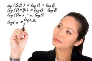 asian business woman solving a mathematical formula