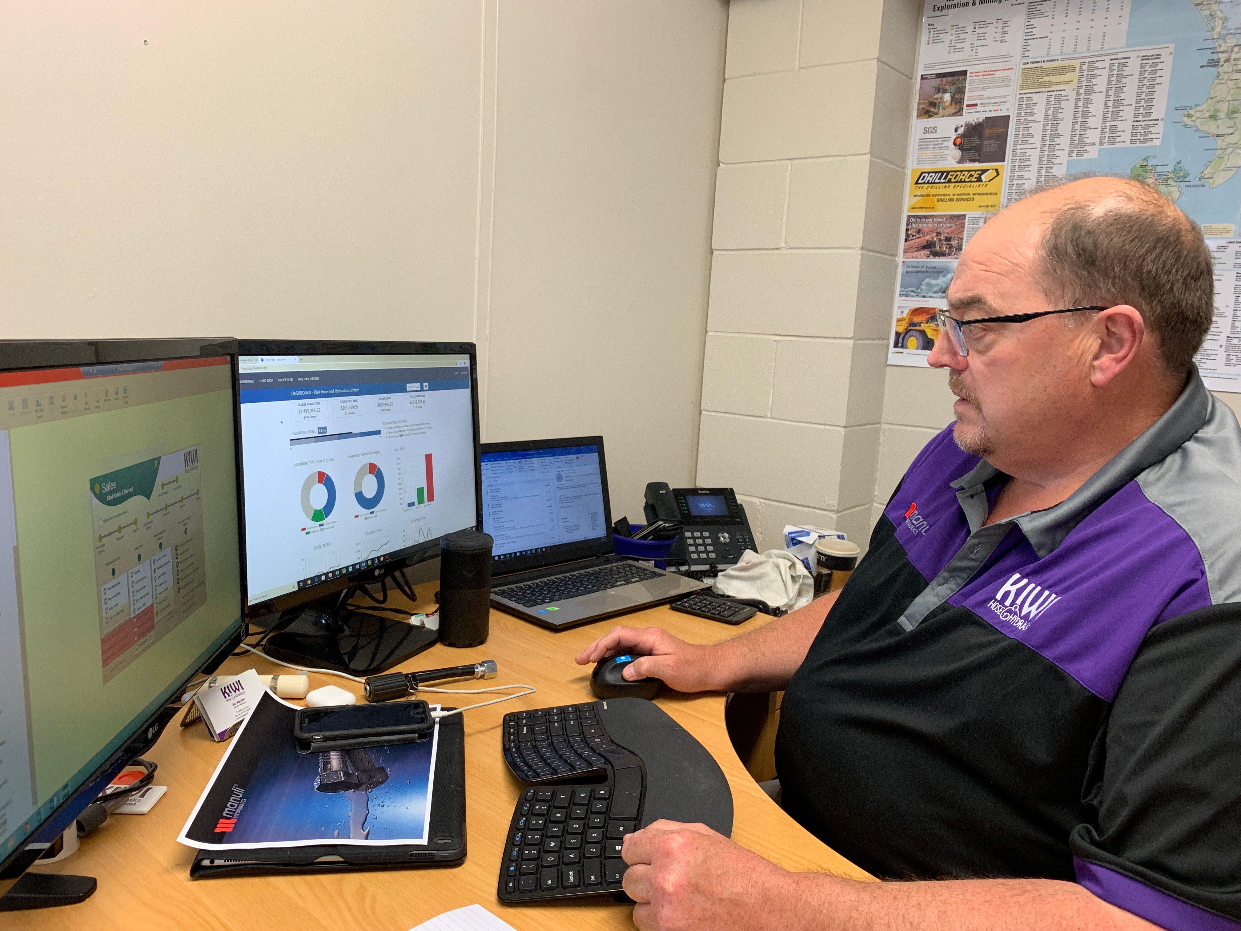 Stu Randell at Kiwi Hose & Hydraulics checks his inventory planning dashboard on StockTrim