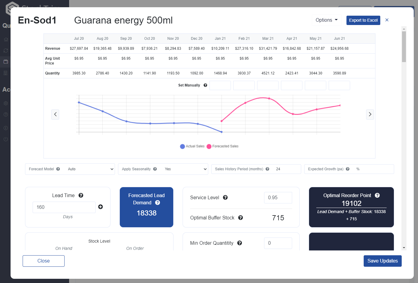 A sneak-peek of the changes to StockTrim's inventory forecasting demand analysis screen
